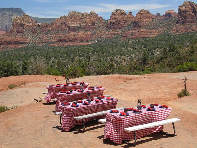 Red Gingham with Blue Metal Dishes Pink Jeep