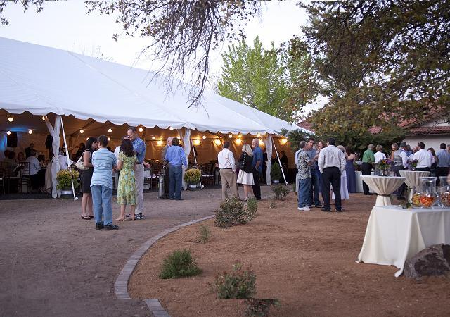 tent, cocktail tables, outdoors