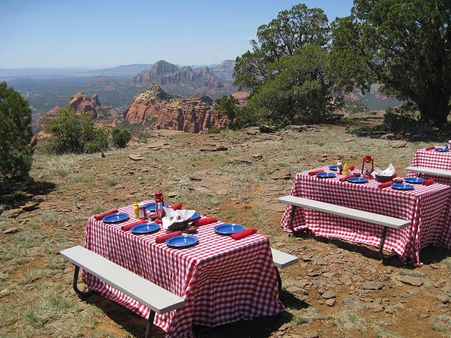 Pink Jeep Red Gingham with Blue Metal dishes (2)