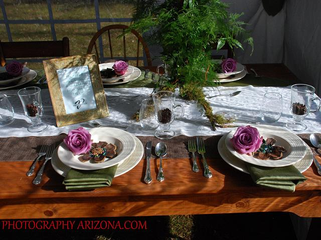 Farm Table with Ivory Dishware