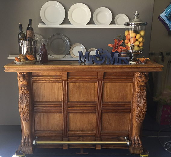 Where to rent BAR, ANTIQUE OAK WITH BRASS TOP in Cottonwood AZ